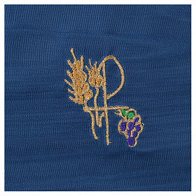 Chalice veil (pall) with Xp, wheat and grapes embroidery on blue fabric s2