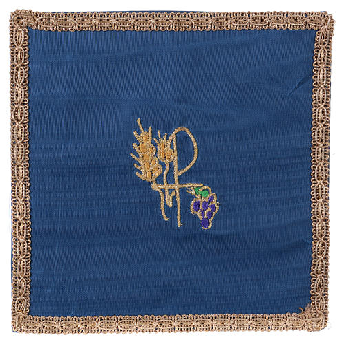 Chalice veil (pall) with Xp, wheat and grapes embroidery on blue fabric 1