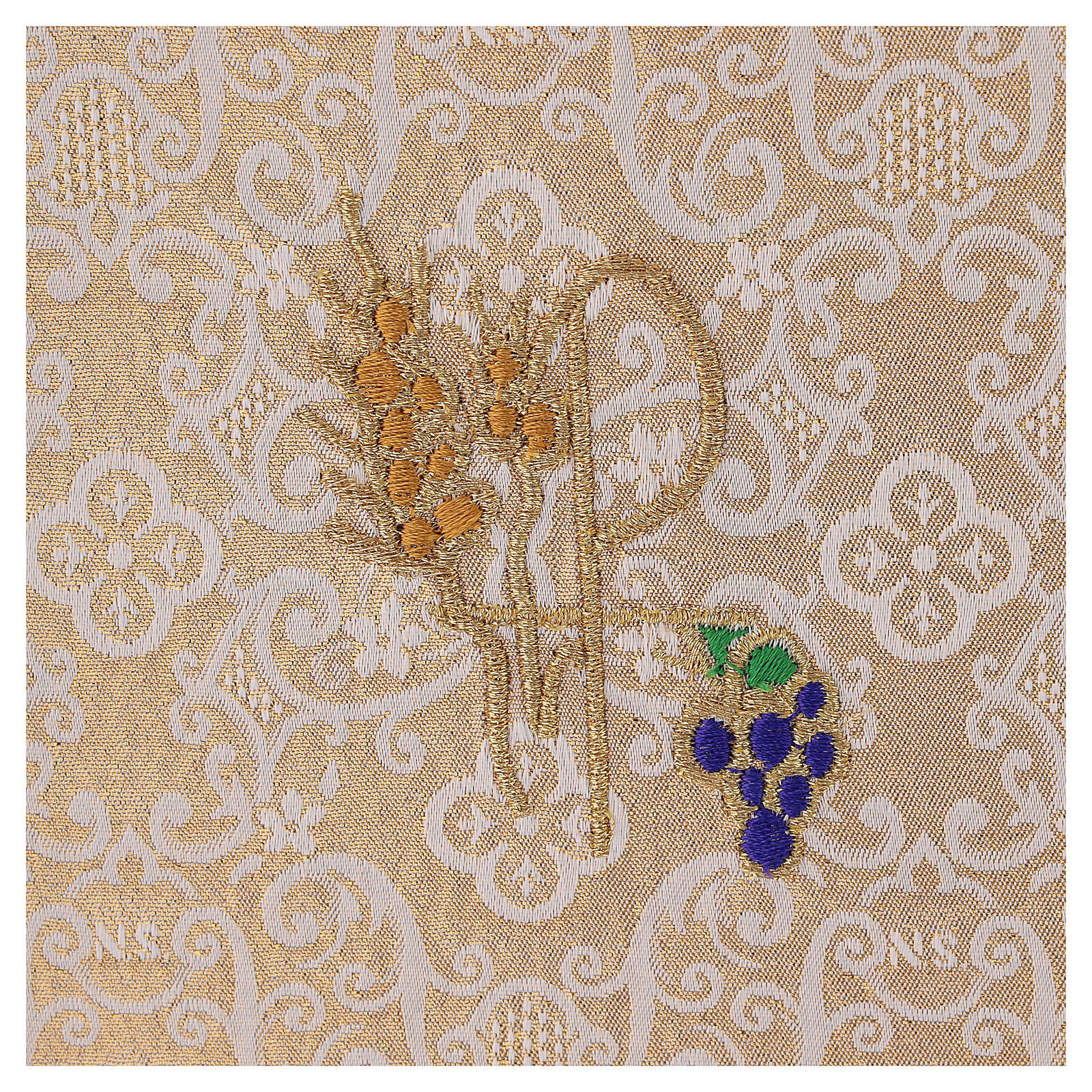 Chalice veil (pall) with Xp, wheat and grapes embroidery on ivory damask fabric 4
