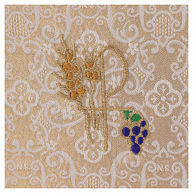 Chalice veil (pall) with Xp, wheat and grapes embroidery on ivory damask fabric s2