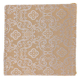 Chalice veil (pall) with Xp, wheat and grapes embroidery on ivory damask fabric s3