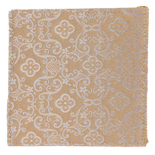 Chalice veil (pall) with Xp, wheat and grapes embroidery on ivory damask fabric 3