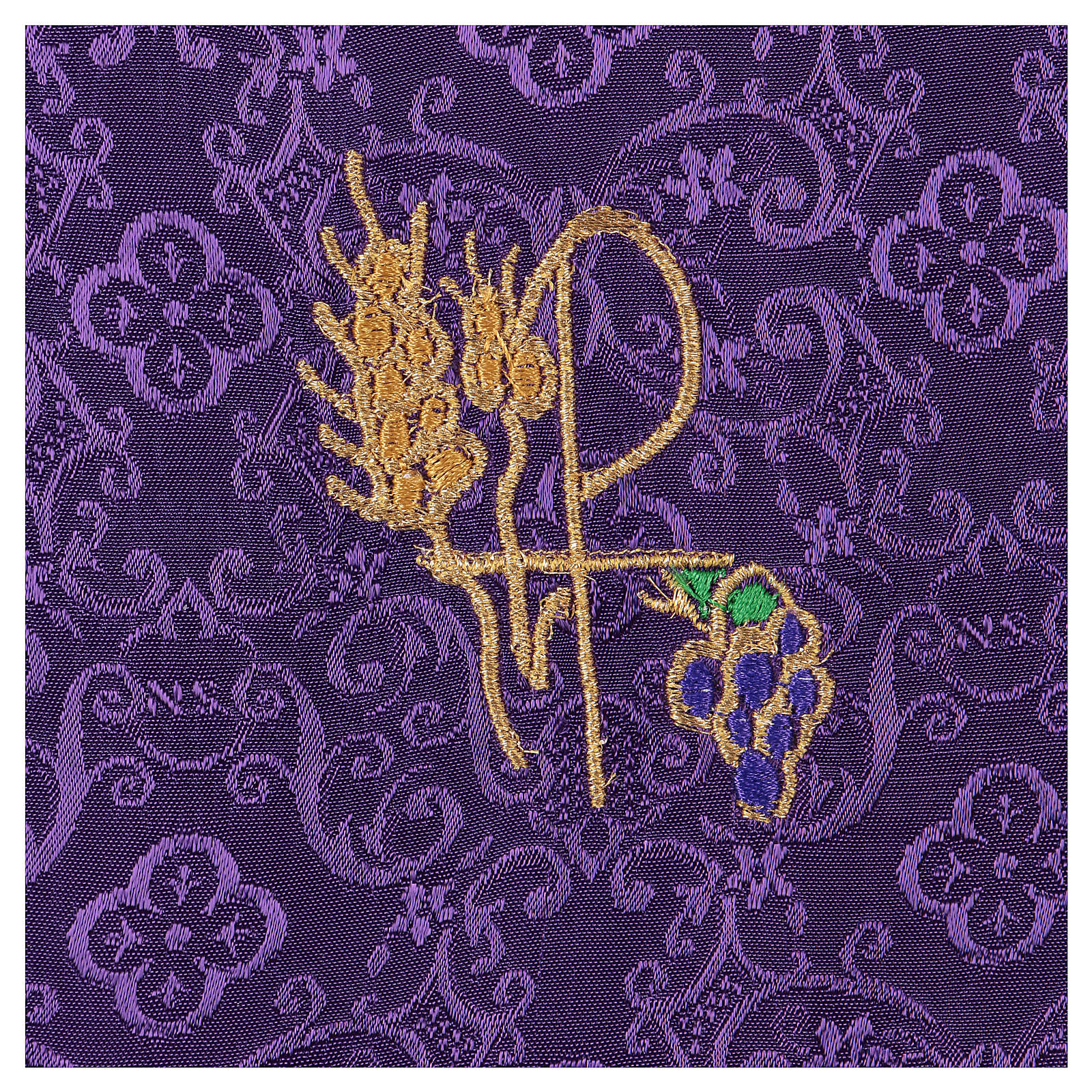 Chalice veil (pall) with Xp, wheat and grapes embroidery on purple jacquard fabric 4