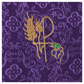 Chalice veil (pall) with Xp, wheat and grapes embroidery on purple jacquard fabric s2