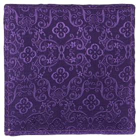 Chalice veil (pall) with Xp, wheat and grapes embroidery on purple jacquard fabric s3