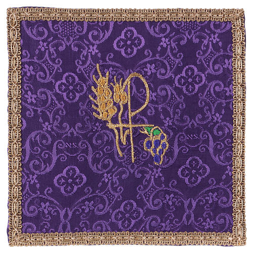 Chalice veil (pall) with Xp, wheat and grapes embroidery on purple jacquard fabric 1
