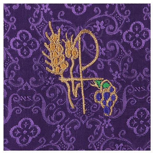 Chalice veil (pall) with Xp, wheat and grapes embroidery on purple jacquard fabric 2