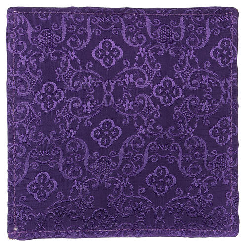 Chalice veil (pall) with Xp, wheat and grapes embroidery on purple jacquard fabric 3
