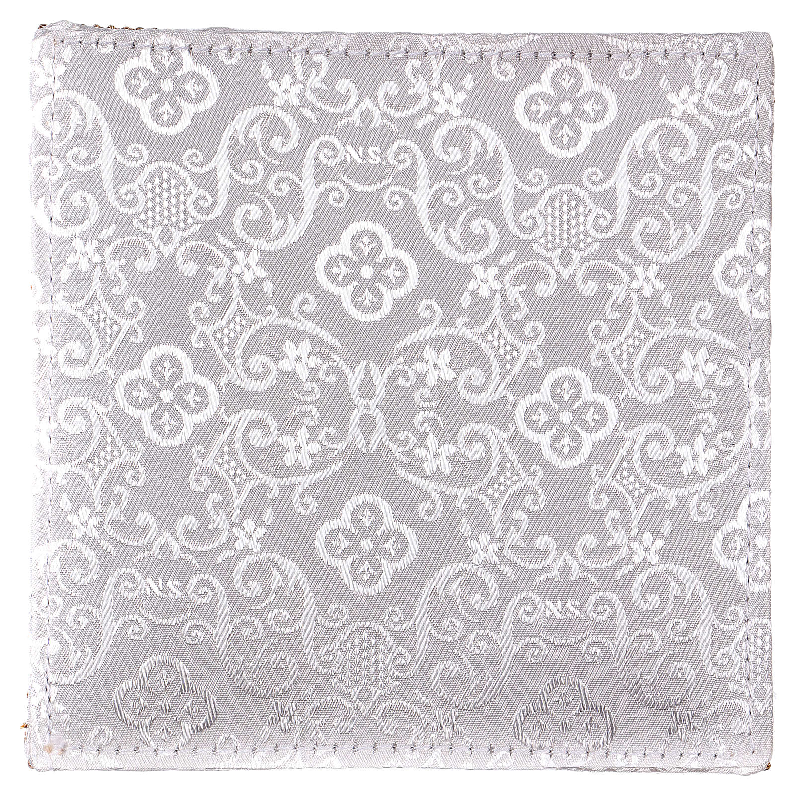 Chalice veil (pall) with Xp, wheat and grapes embroidery on white damask fabric 4