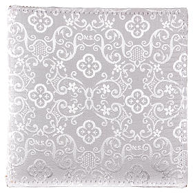 Chalice veil (pall) with Xp, wheat and grapes embroidery on white damask fabric s3