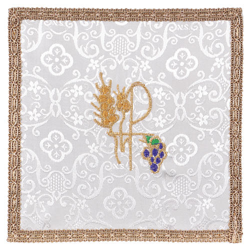 Chalice veil (pall) with Xp, wheat and grapes embroidery on white damask fabric 1