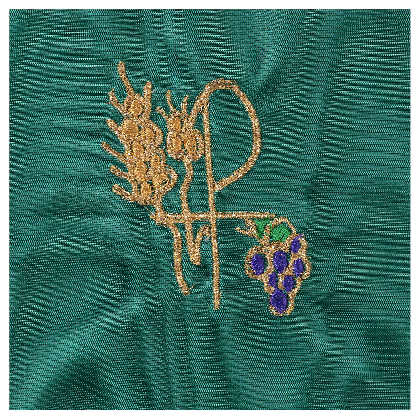Chalice veil (pall) with Xp, wheat and grapes embroidery on green fabric 4