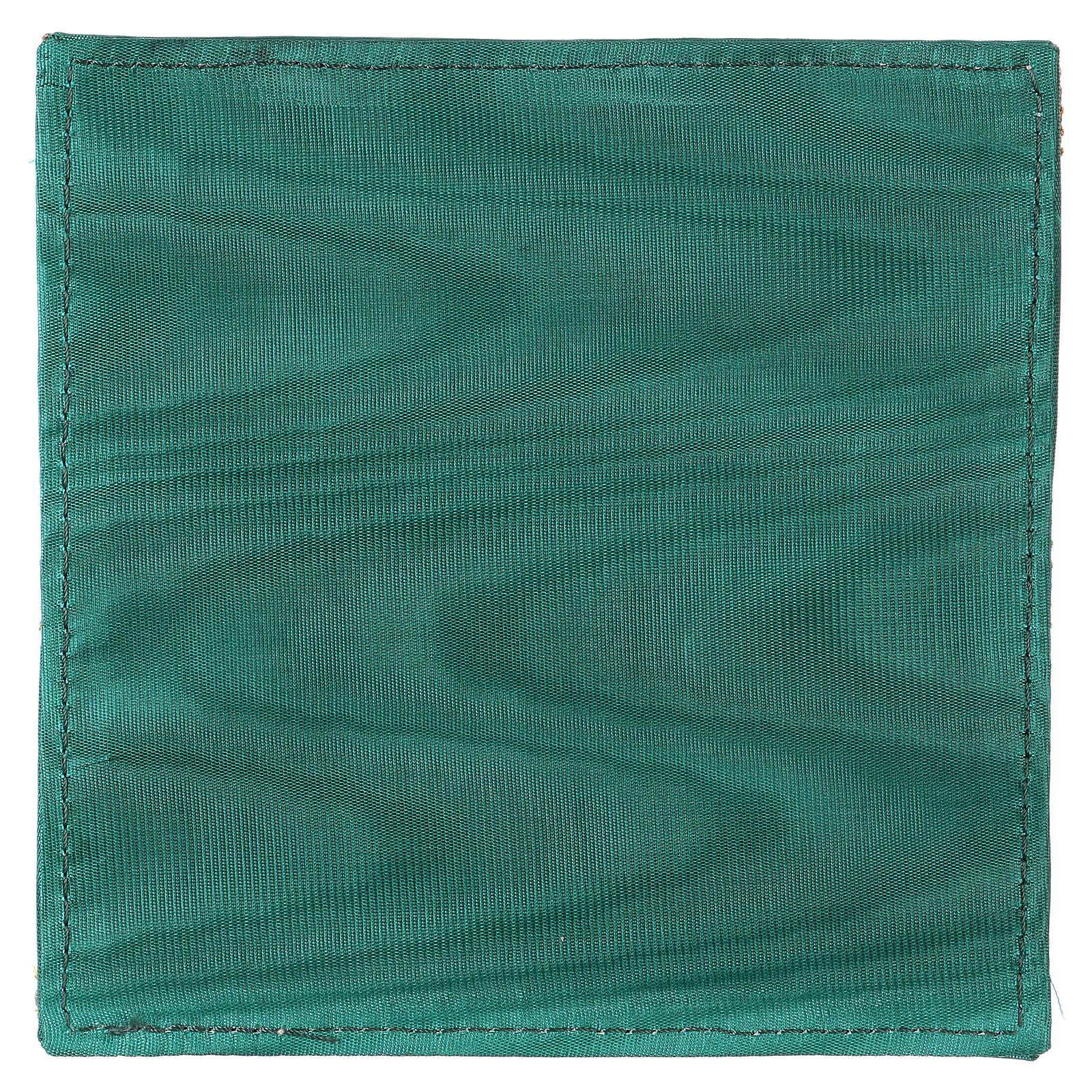 Pala rígida para cálice tecido verde Chi-Rho trigo e uva 4