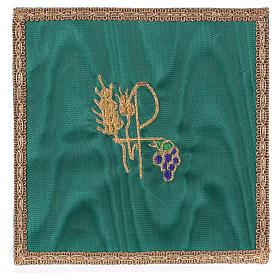 Pala rígida para cálice tecido verde Chi-Rho trigo e uva s1