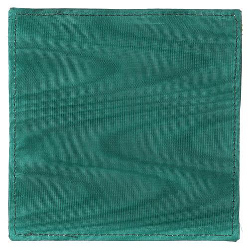 Pala rígida para cálice tecido verde Chi-Rho trigo e uva 3