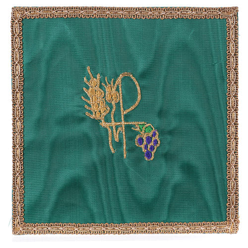 Chalice pall with Chi-Rho, ears of wheat and grapes embroidery, green fabric 1