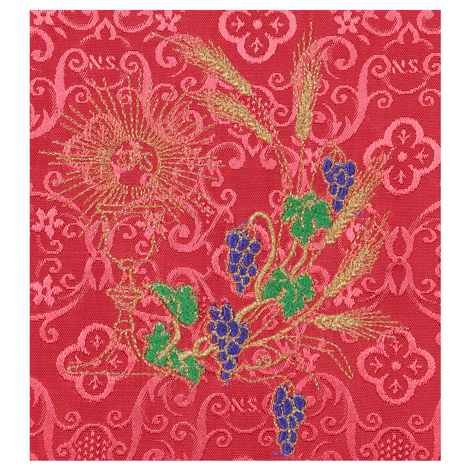 Chalice veil (pall) with chalice and grapes embroidery on red damask fabric 4