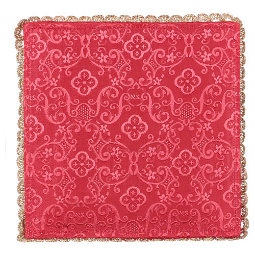 Chalice veil (pall) with chalice and grapes embroidery on red damask fabric 3