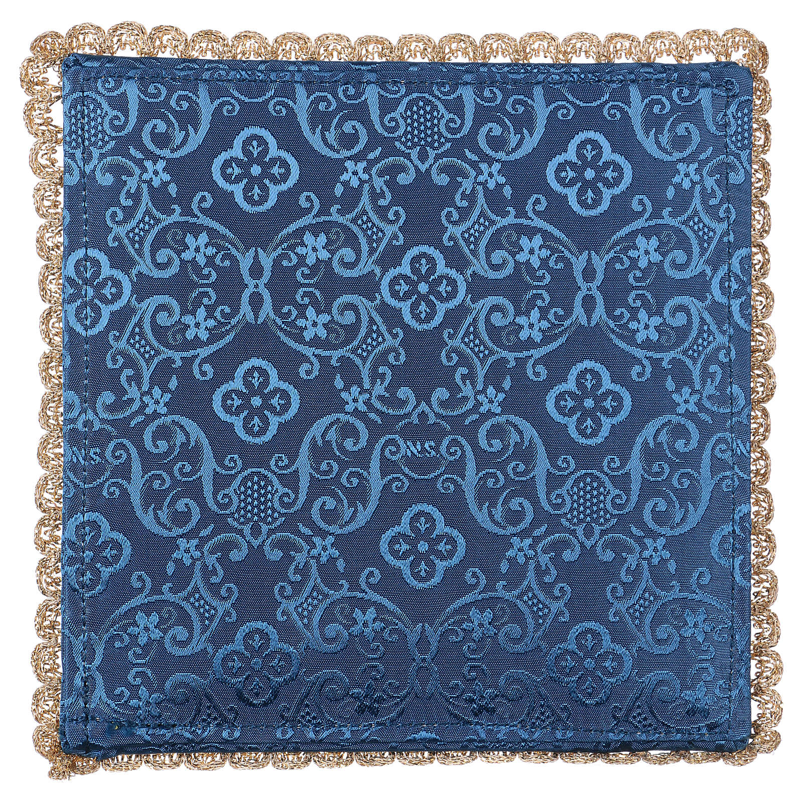 Chalice veil (pall) with chalice and grapes embroidery on blue damask fabric 4