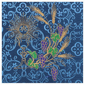 Chalice veil (pall) with chalice and grapes embroidery on blue damask fabric s2
