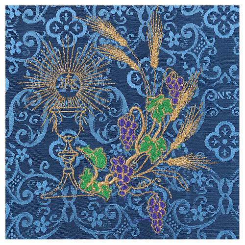 Chalice veil (pall) with chalice and grapes embroidery on blue damask fabric 2