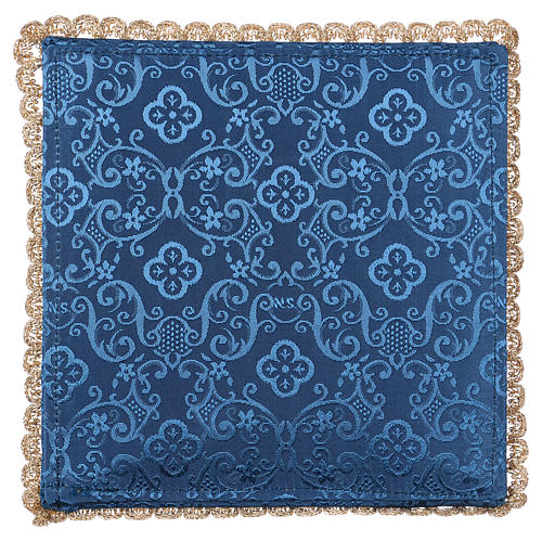 Chalice veil (pall) with chalice and grapes embroidery on blue damask fabric 3