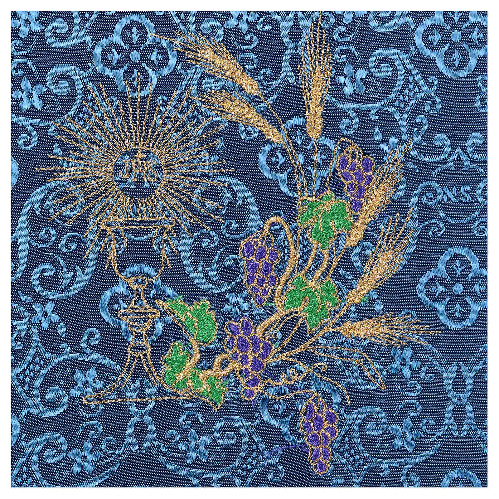 Copricalice (palla) calice e uva damascato blu 4