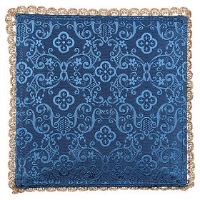 Blue damask fabric chalice pall with grapes embroidery s3