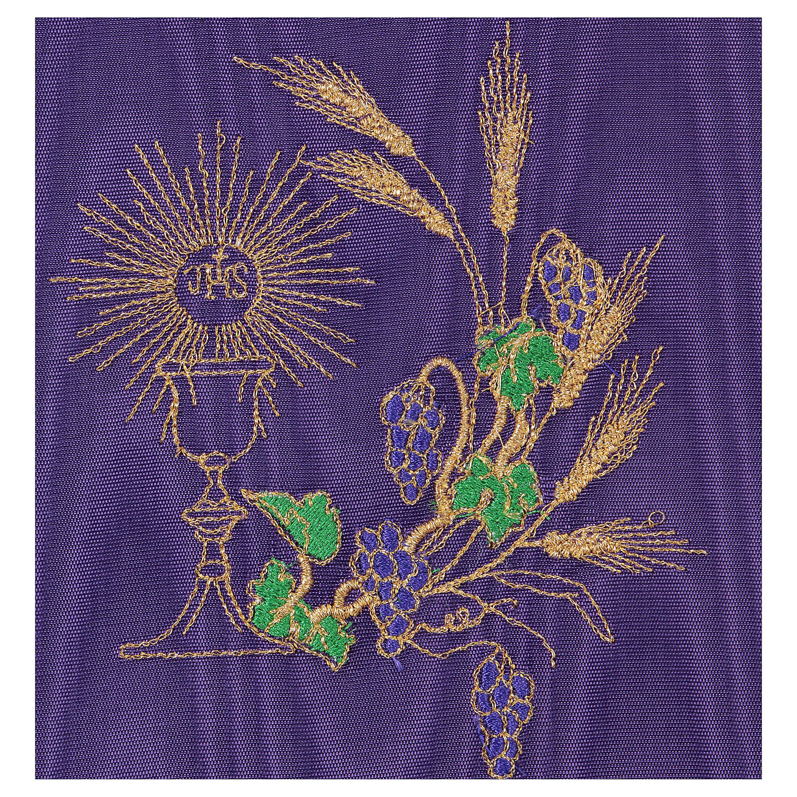 Chalice veil (pall) with chalice and grapes embroidery on purple satin 4