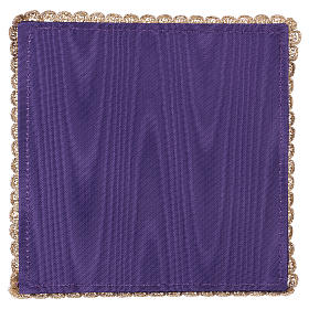 Chalice veil (pall) with chalice and grapes embroidery on purple satin s3
