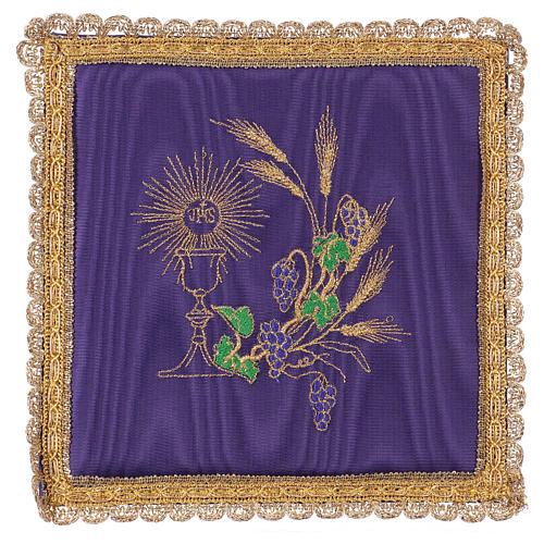 Chalice veil (pall) with chalice and grapes embroidery on purple satin 1
