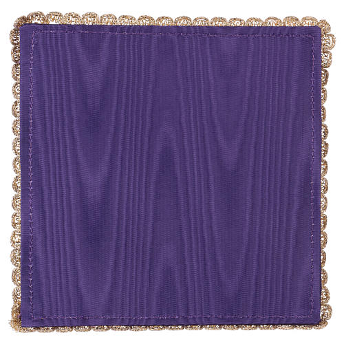 Chalice veil (pall) with chalice and grapes embroidery on purple satin 3
