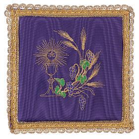 Palla copricalice raso viola con calice e uva s1