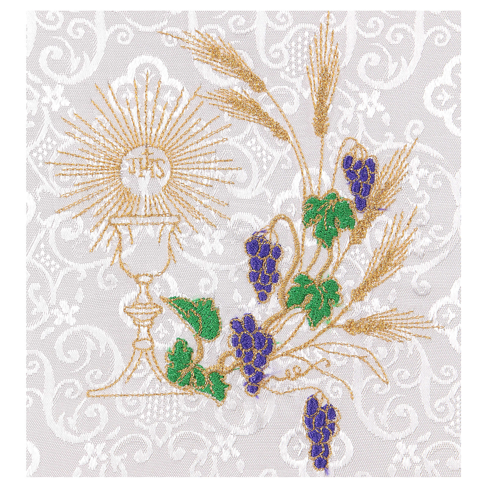 Chalice veil (pall) with chalice and grapes embroidery on white damask fabric 4