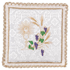 Chalice veil (pall) with chalice and grapes embroidery on white damask fabric s1