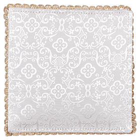Chalice veil (pall) with chalice and grapes embroidery on white damask fabric s3