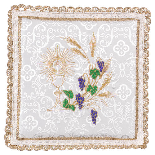 Chalice veil (pall) with chalice and grapes embroidery on white damask fabric 1