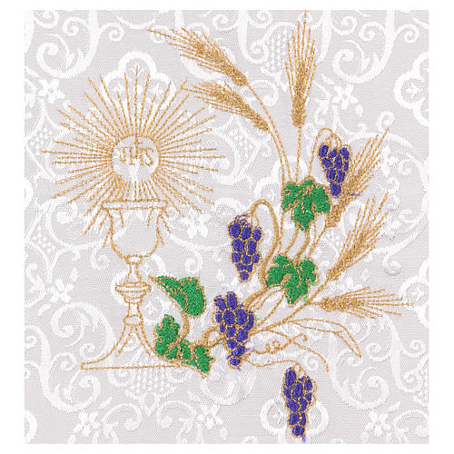 Chalice veil (pall) with chalice and grapes embroidery on white damask fabric 2