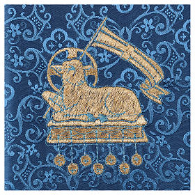 Chalice veil (pall) with lamb embroidery on blue damask fabric s2