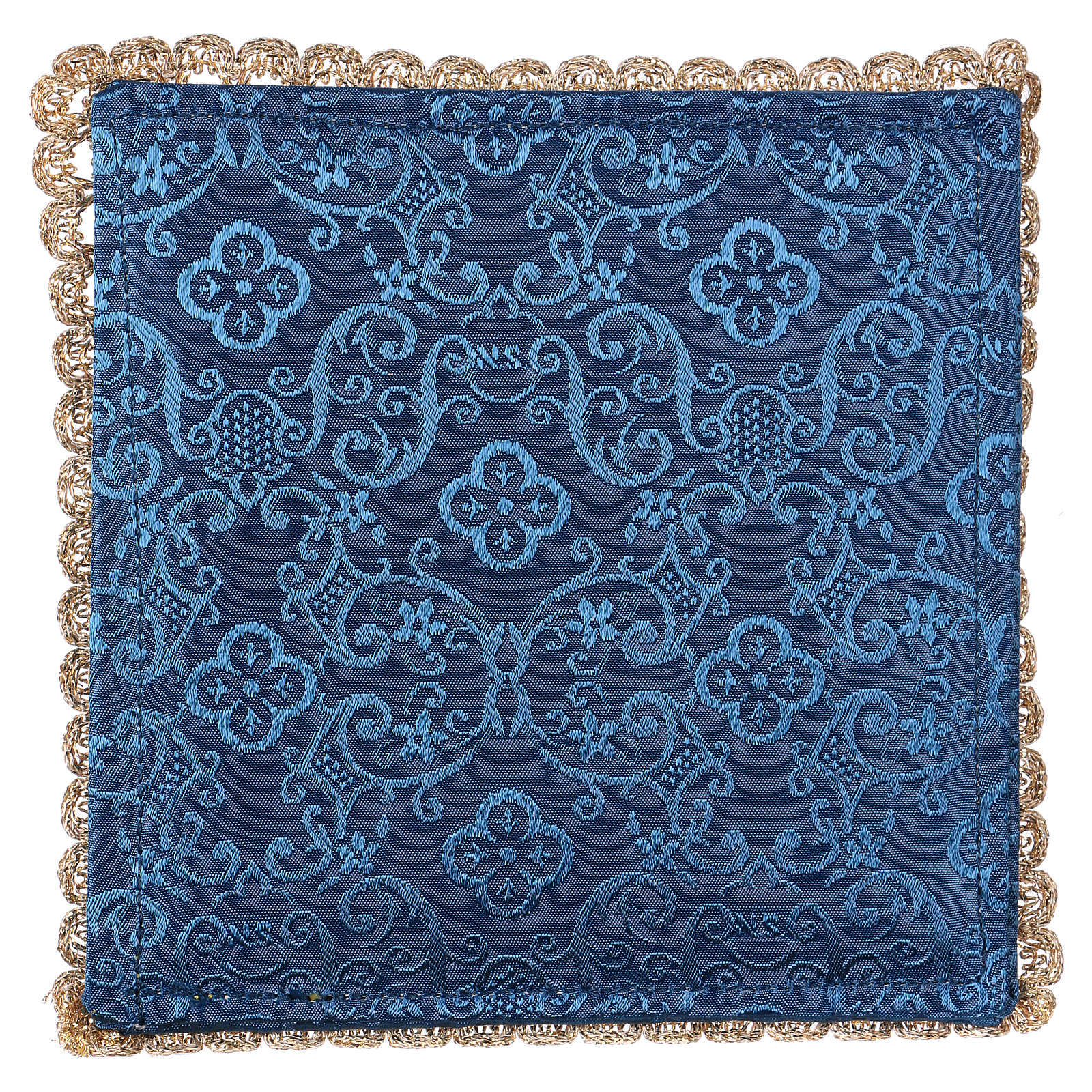 Blue damask fabric chalice pall with lamb of God embroidery 4