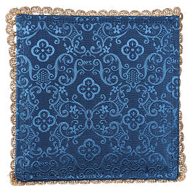 Blue damask fabric chalice pall with lamb of God embroidery s3