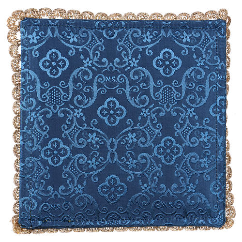 Blue damask fabric chalice pall with lamb of God embroidery 3