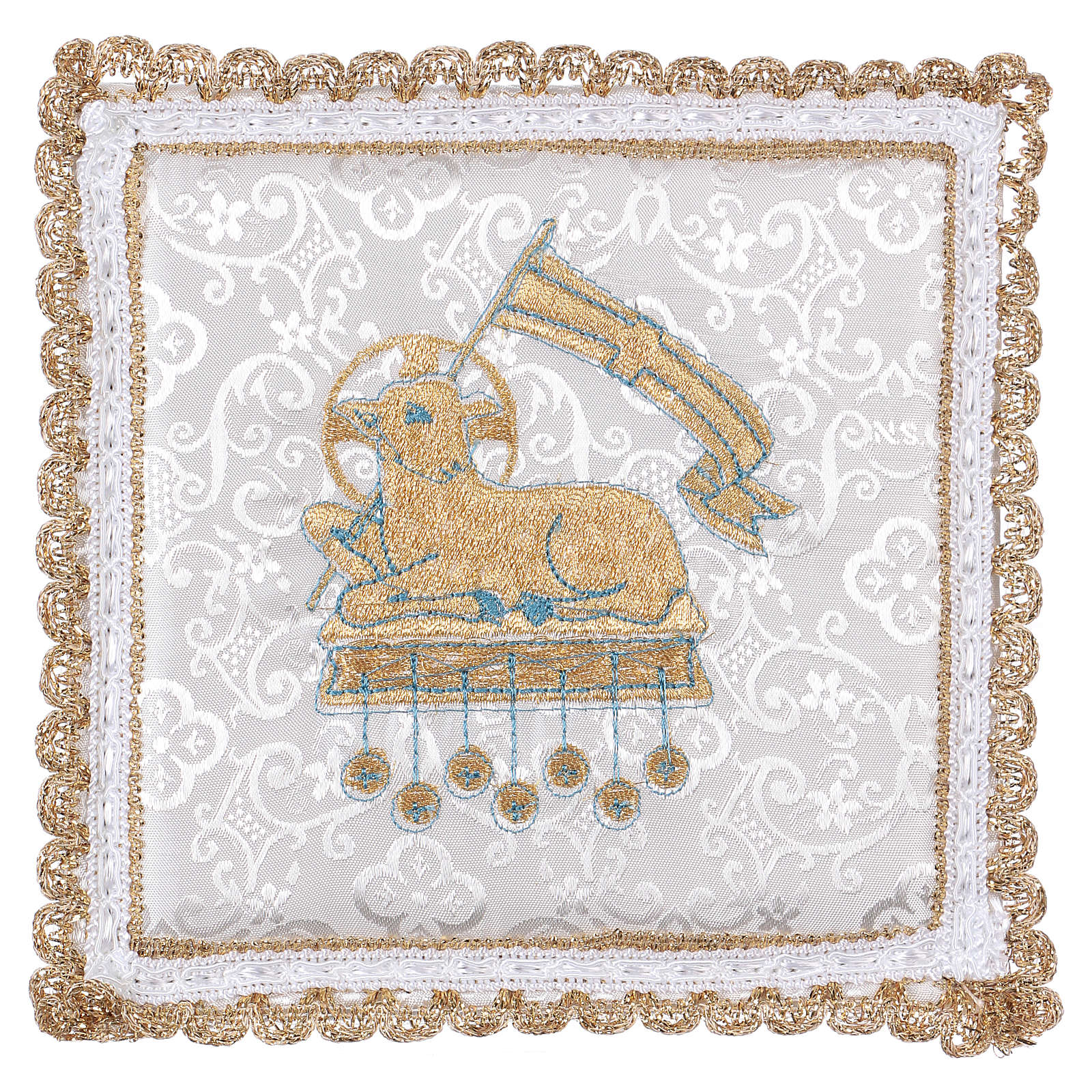 Chalice veil (pall) with lamb embroidery on white damask fabric 4