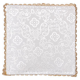 Chalice veil (pall) with lamb embroidery on white damask fabric s3