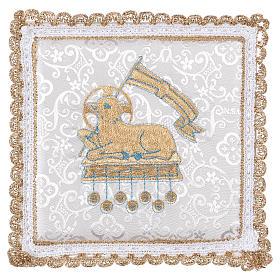 Conjuntos de Altar: Palia rígida cubre cáliz con cordero en el fondo adamascada blanco