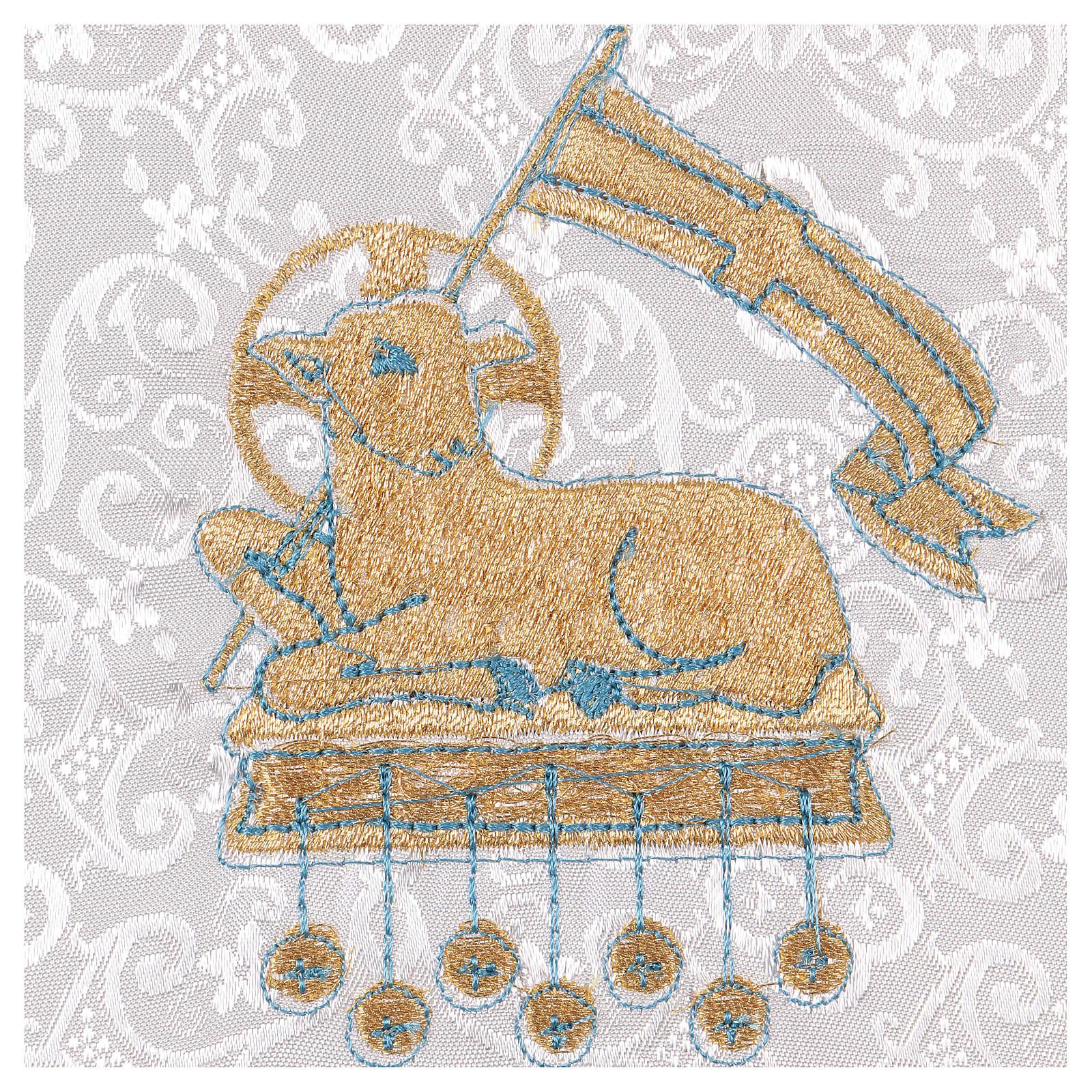 Pale rigide pour calice avec agneau sur fond damassé blanc 4
