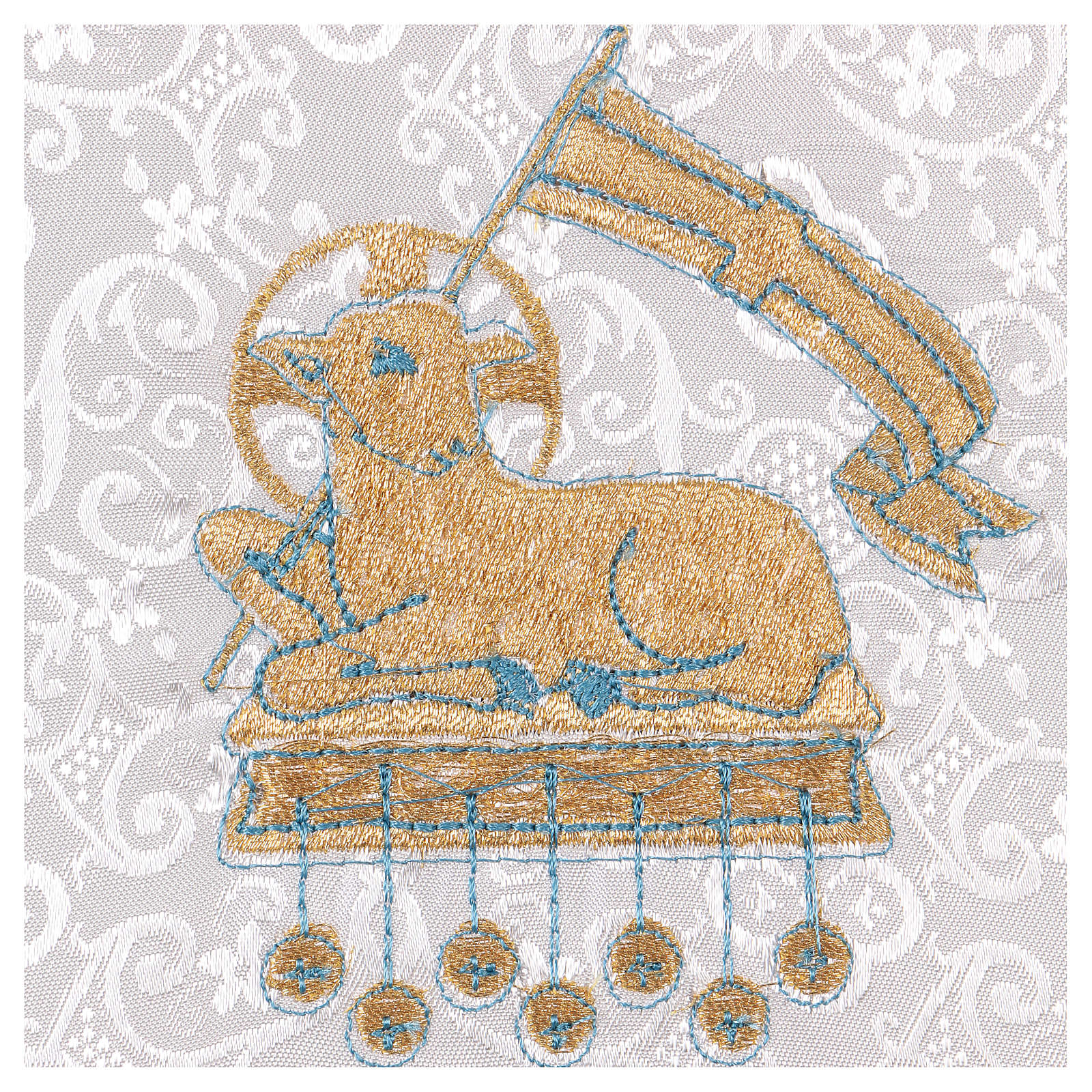 Palla rigida copricalice con agnello su fondo damascato bianco 4