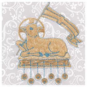 Palla rigida copricalice con agnello su fondo damascato bianco s2