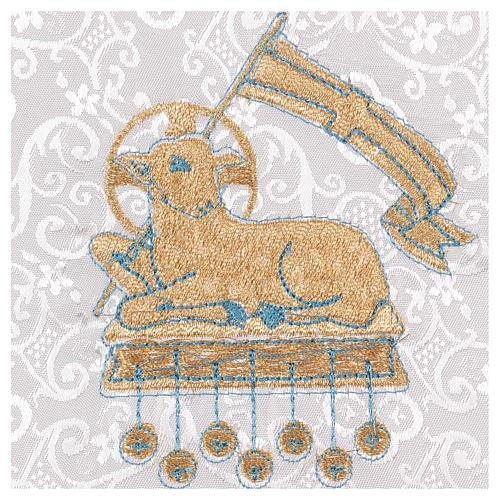 Palla rigida copricalice con agnello su fondo damascato bianco 2