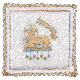 White damask fabric chalice pall with lamb of God embroidery s1